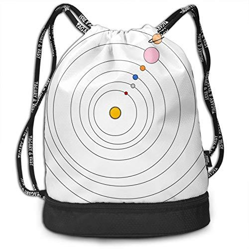 Mochila con cordón de color blanco con sistema solar, mochila portátil, para ocio, deporte, gimnasio, viajes, 15 x 16 pulgadas