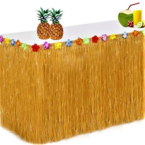 King Luau Grass Table Skirt - 9ft x 29in Luau Table Skirt   Raffia Style Fringe Party Decoration for Tiki Tropical Hawaii or Moana Themed Birthday, Graduation or Costume Party   Hawaiian Table Skirt