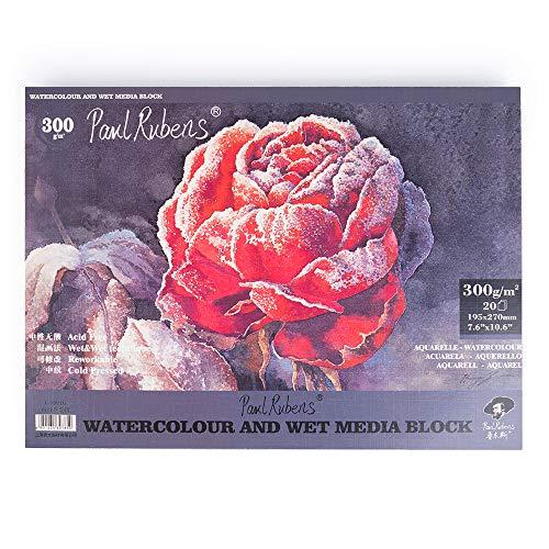 Paul Rubens Watercolor Paper Block Cold Press 7.6 x 10.6 Inches, 20 Sheets, Acid-Free, 50% Cotton Watercolor Paper Pad