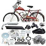Ambienceo 50cc 2 Pédale Cycle de Pédale d'Essence Gaz Moteur Kit de Conversion de Vélo pour Moto Noir(avec Un Cadeau au Hasard)