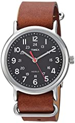 Adjustable brown 20 millimeter double-layered genuine leather slip-thru strap fits up to 8-inch wrist circumference Black dial with full Arabic numerals; 24-hour military time Silver-tone 38 millimeter brass case with mineral glass crystal Indiglo li...