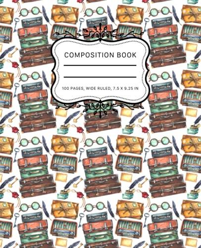 Composition Notebook: Vintage Watercolor Wide Ruled Paper Notebook Vintage Trunk Suitcase & Vintage Stamp & Vintage Envelopes Journal 7.5 x 9.25 in. 100 Pages