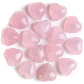 Sunligoo Natural Healing Crystal Rose Quartz Heart Love Stones Set Bulk Polished Pocket Palm Thumb Gemstones Chakra Reiki Balancing - 0.6 Inches, 15 Pcs