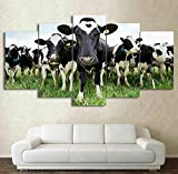XEMI Extra Large Premium Quality Picture Herds of Cows Farm Canvas Wall Art 5 Pieces Art Wall Home Decor HD Print Home Wall Hanging Art Prints Modular Pictures - Ready to Hang (60' W x 32' H)