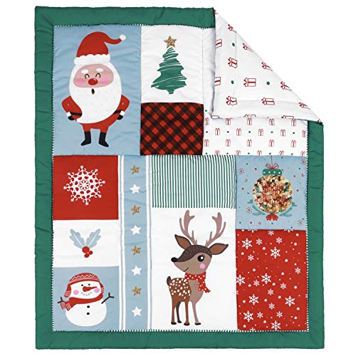 TILLYOU Christmas Winter Toddler Quilt- Warm Soft Baby Quilted Blanket - 39' x 47' Multi-Use Crib Comforter for Boys Girls-Christmas Theme