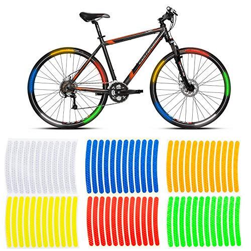 TINHAU Reflektorband Selbstklebend, Fahrrad Sticker Reflektor 6 * 12 Stück, 6 Farben, Fahrradreflektoren Fahrrad Speichen Reflektoren Fahrrad Aufkleber für Radnabe Fahrrad Helm