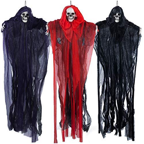 """27.6"""" Halloween Hanging Clowns (3 Pack) in varies color, Clown Halloween Decorations, Scary Halloween Decoration, Hanging decoration for Haunted House Prop Décor, Halloween Outdoor Indoor Decor"""