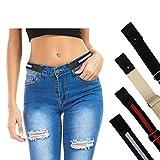 SWAUSWAUK Cinturón de Cintura Sin Hebilla - Cinturón Sin Hebilla Ajustable para Mujeres y Hombres, Cinturón Elástico Invisible Cinturón Elástico para Jeans, Pantalones, Faldas (4 Piezas)