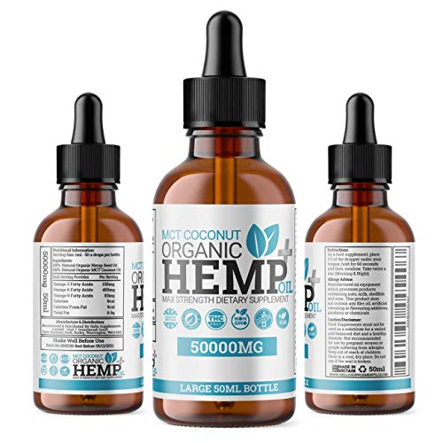 MCT Coconut Hemp Oil Plus+ Drops – High Strength Supplement to Help Support Anxiety, Stress, Improved Sleep & More | 50,000MG MAX Strength 50ML Bottle