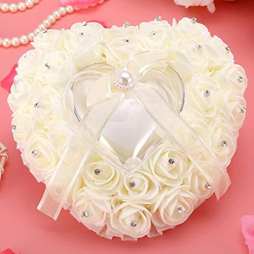 Decoración romántica del partido del cojín del anillo de bodas de la almohada del anillo de bodas en forma de corazón para la boda(Milky white)