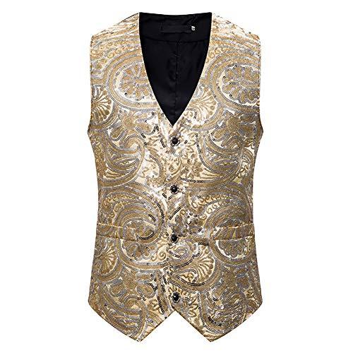 Story of life Glitter herenvest pailletten podiumkostuum eenrijs pak gilet met V-hals vest tops
