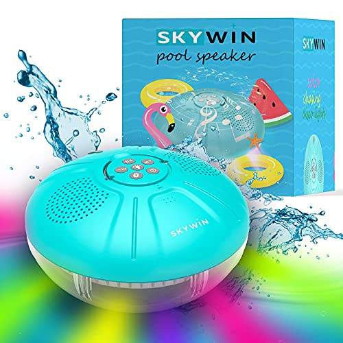 Skywin Hot Tub Speaker & Pool Lights - IPX7 Large Swimming Pool Lights and Floating Speaker for Pool