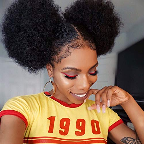YMHPRIDE 2Pcs Afro Puff Drawstring Ponytail Hair Extension Synthetic Fluffy Kinky Curly Hair Puff Bun Updo Hair Pieces Afro Donut Chignon Hairpieces Extensions(1B#)