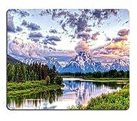 ゲーミングマウスパッドカスタムデザイン、Grand Teton Snowy Mountains Lake Tree Landscape、