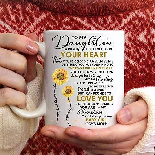 N\A My Wondeful Daughter, Eres Capaz de Lograr la grandeza Taza de café - Regalo Blanco para Amigo, Amante, Esposo, Esposa, cumpleaños, Navidad