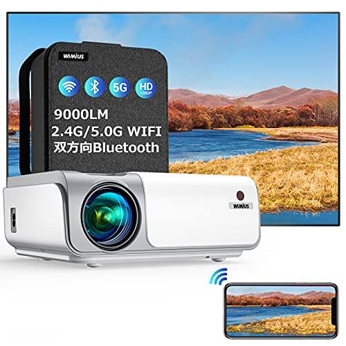 WiMiUS プロジェクター 2.4 5.0GWiFi 双方向 Bluetooth5.0 9000ルーメン 画面ミラーリング 4K対応 解像度リアル1980*1080P 4D±50°タテ ヨコ台形補正 低遅延 ズーム機能 ホームシアー WiFi Bluetooth USB HDMI AV対応SWITCH パソコン IOS Android DVDなど接続可能 日本語取扱書 専用バッグ付き