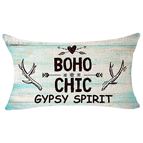 Hokdny Wood Grain Boho Chic Gypsy Spirit Flecha Pluma Asta Cita Regalo Algodón Lino Cuadrado Tiro Cintura Funda de Almohada Funda de cojín Decorativa Funda de Almohada Sofá 14x20 Pulgadas