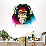ganlanshu Pintura sin Marco Decoración de la Sala de Estar con Impresiones de Lienzo de Animales Pensamiento Moderno Gorila y Auriculares Arte de la paredZGQ2145 70X70cm