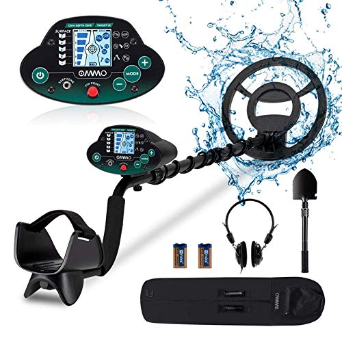 OMMO Metal Detector for Adults & Kids, High Accuracy Adjustable Waterproof Metal Detectors with LCD Display, Pinpoint & Disc & All Metal Mode, for Detecting Gold, Coin, Treasure Hunting