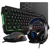 THE G-LAB Combo Argon E - Pack Gaming 4 en 1 - Teclado Gaming QWERTY – Incluye Ñ - Retroiluminado, Ratón Gaming de 3200 dpi, Auriculares Gaming, Alfombrilla de Ratón Antideslizante – PC PS4 Xbox One