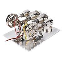 スターリングエンジン 4気筒スターリングエンジンミニチュア熱風発電機物理学実験室教育モデルスターリングエンジンキット
