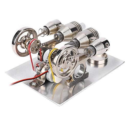 熱気スターリングエンジン 4シリンダー スターリングエンジンモーター ミニ ホットエア スターリングエンジンモーター 科学教育玩具 知育玩具 科学 実験器材 物理実験 自由研究 LED付き