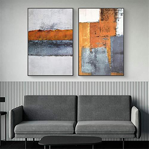 Mark Rothko Abstrakte Leinwand Malerei Poster und Drucke Farbblock Moderne Wohnkultur Wandkunst Bilder für Schlafzimmer-50x75cmx2 Kein Rahmen