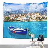 Y·JIANG Tapiz paisajístico, tradicional pueblos de pesca de Grecia Kokkari en la isla de Samos, tapiz decorativo grande, manta para colgar en la...