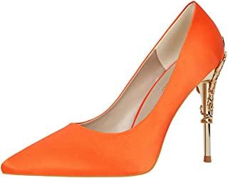 Color : Orange, Size : 37 ChixiaO Leather Square Head Work Shoes Cow Patent Leather Commuter Shallow Mouth High Heels Summer Spring and Autumn Models Thick Heel Shoes Four Seasons Shoes