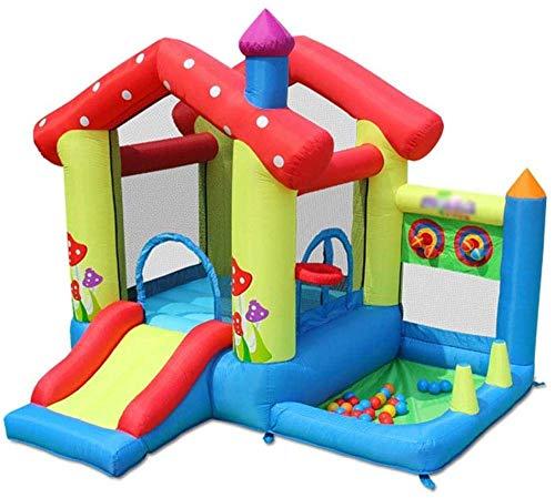 FGVDJ Castillo Hinchable Inflable pequeño para niños con Soporte de Baloncesto, tobogán, Piscina de Bolas Marinas y área de Salto Grande