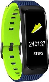 AIFB Pantalla a Color Pulsera Inteligente, Podómetro calorías Pulsómetro Impermeable Monitor de sueño Fitness Tracker Notificaciones Inteligentes para Android iOS Phone,Green-OneSize