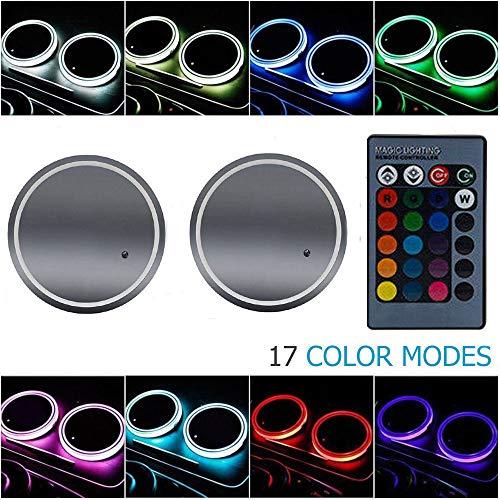 MASO - Portabicchieri per auto con luci LED RGB, 2 tappetini a LED colorati, tappetino con bottiglia impermeabile, sottobicchiere integrato, mini USB ricaricabile con telecomando