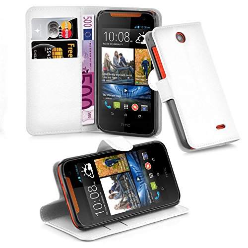 Cadorabo Hülle für HTC Desire 310 in ARKTIS WEIß - Handyhülle mit Magnetverschluss, Standfunktion & Kartenfach - Hülle Cover Schutzhülle Etui Tasche Book Klapp Style
