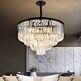 Panghuhu88 Crystal Chandelier Modern Contemporary Chandelier 4-Tier European Ceiling Pendant Lights for Dining Room Living Room Hotel, Require 9 E12 Bulbs (Dia23.6'' 4-Tier, Black)