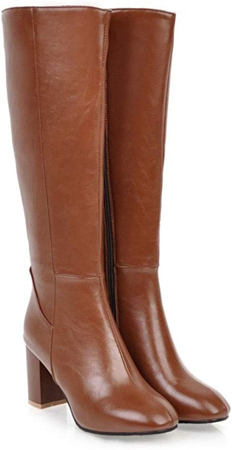 Women's High Boots, Side Zipper High Heels Large Size Long Boots Thick with Knight Boots Waterproof Platform Non-Slip Knee Boots Comfortable Warm PU
