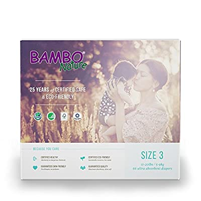 Bambo Nature Eco Friendly Baby Diapers Classic for Sensitive Skin, Size 3 (11-20 lbs), 66 Count (2 Packs of 33)