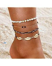 Handcess Boho Tobilleras de concha en capas Pulseras de tobillo de concha dorada Cuentas de playa Cadenas de pie para mujeres y niñas