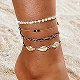 Handcess Boho Layered Shell Cavigliere Bracciali alla caviglia con conchiglia dorata Perline da spiaggia Catene per piedi per donne e ragazze