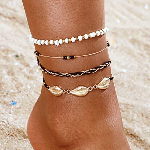 Handcess Boho couches de cheville de coquille bracelets de cheville de coquillage d'or perles de plage chaînes de pied pour femmes et filles