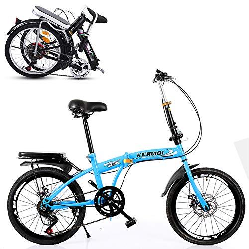 TopBlïng Absorbente De Impactos Completo,Mujer Mini Bicicleta Adolescentes Bike Escuela Ciudad Ciclismo,Adulto Bicicleta Plegable 20 Pulgadas Rueda,6a Marcha Velocidad Variable-C