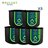 OPULENT SYSTEMS 5-Pack 10 Gallon Grow Bags Heavy Duty Thickened Nonwoven Fabric Containers for Potato/Plant Growing Pots with Handles (Black)