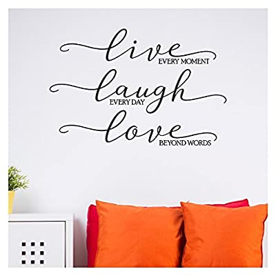 Live Every Moment, Laugh Everyday, Love Beyond Words Vinyl Lettering Wall Decal Sticker
