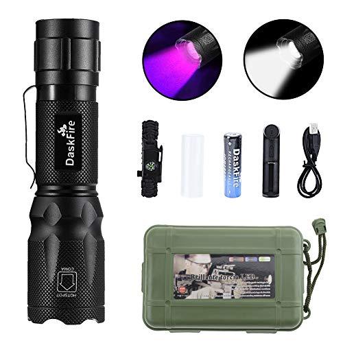 2-in-1 LED-Taschenlampe Set Superhelles 900 Lumen Schwarzlicht UV 395nm LED-Taschenlampe 4 Einstellungen UV-Taschenlampe Wiederaufladbares taktisches Licht Verstellbare Größe Wasserdicht