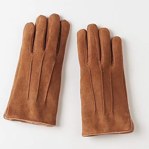 Pantalla táctil Guantes de Hombre Guantes de Ante Hombres más Terciopelo Grueso Invierno Mantener Caliente y frío DSJSP (Color : Brown)