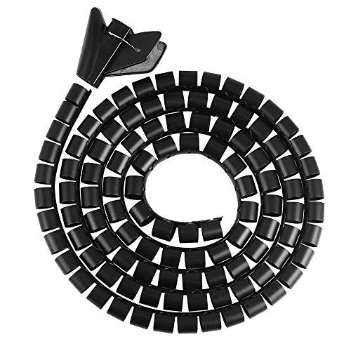 BUZIFU 2 Rollos Manguera de Cable 3 Metros Manguera Espiral Flexible con 2 Clips, Cable Universal en Espiral para Organizar Los Cables Rápidamente, Cable de Alimentación de HDTV/PC/Monitor/Red y Más