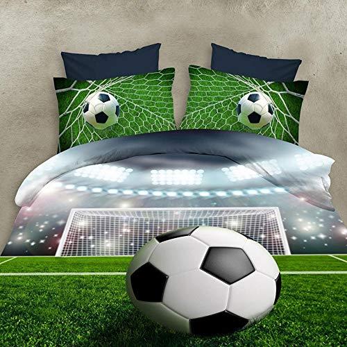 KWDDDEI Ropa De Cama 3D 180X220 Cm Funda Nórdica De Microfibra Estampada De 3 Piezas Y Funda De Almohada Hipoalergénica Deporte De Fútbol De Dibujos Animados No Es Necesario Planchar
