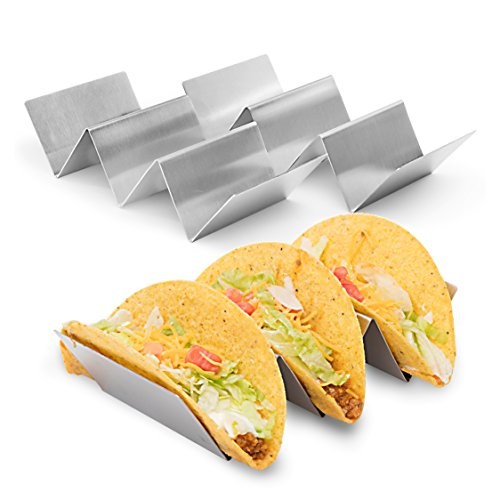 """2 Pack - Stylish Stainless Steel Taco Holder Stand, Taco Truck Tray Style, Rack Holds Up to 3 Tacos Each, Oven Safe for Baking, Dishwasher and Grill Safe, 4"""" x 8"""", by California Home Goods"""