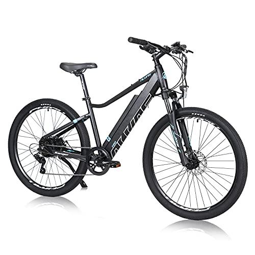 Hyuhome Bicicletas Eléctricas Para Adultos Hombres Mujeres, 27,5' E-bicicleta Montaña E-MTB 250W 36V 12.5Ah,Frenos Disco Dobles Shimano de 7 Velocidades para Viajeros al Aire Libre(250W 12.5 A, 720)
