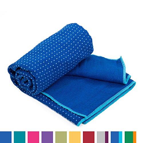 GRIP2 Yoga Towel, Yoga-Handtuch mit Antirutsch-Noppen, rutschfest, Mikrofaser-Yogatuch, sehr gut für Hot Yoga (blau/aqua), Yogamattenauflage, antibakteriell
