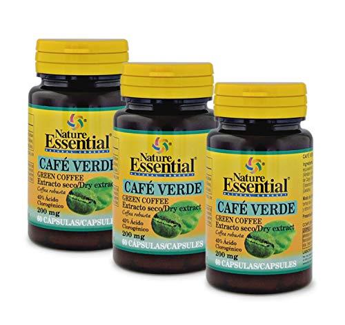 Café verde 200 mg. (ext. seco 45% ácido clorogénico) 60 cápsulas (Pack 3 unid.)